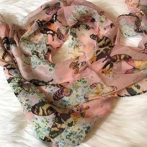 """Pink Butterfly Silk Scarf 64"""" x 16""""  Butterflies"""